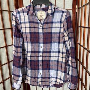 Purple pastel plaid flannel shirt